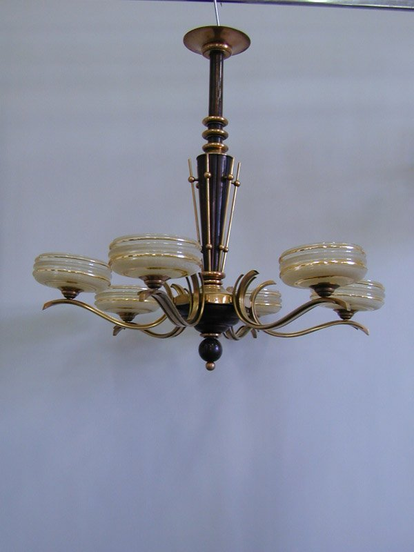 2250: Art Moderne mahogany brass chandelier