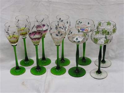 6155: 10 delicately painted wine stems