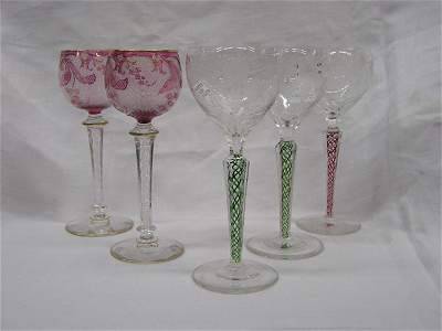 6191: Five wine stems on faceted twist stems