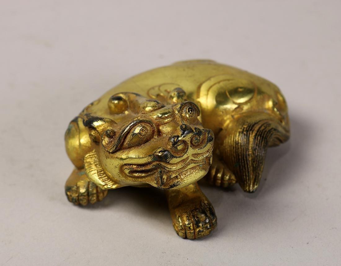 Chinese Gilt Bronze Beast