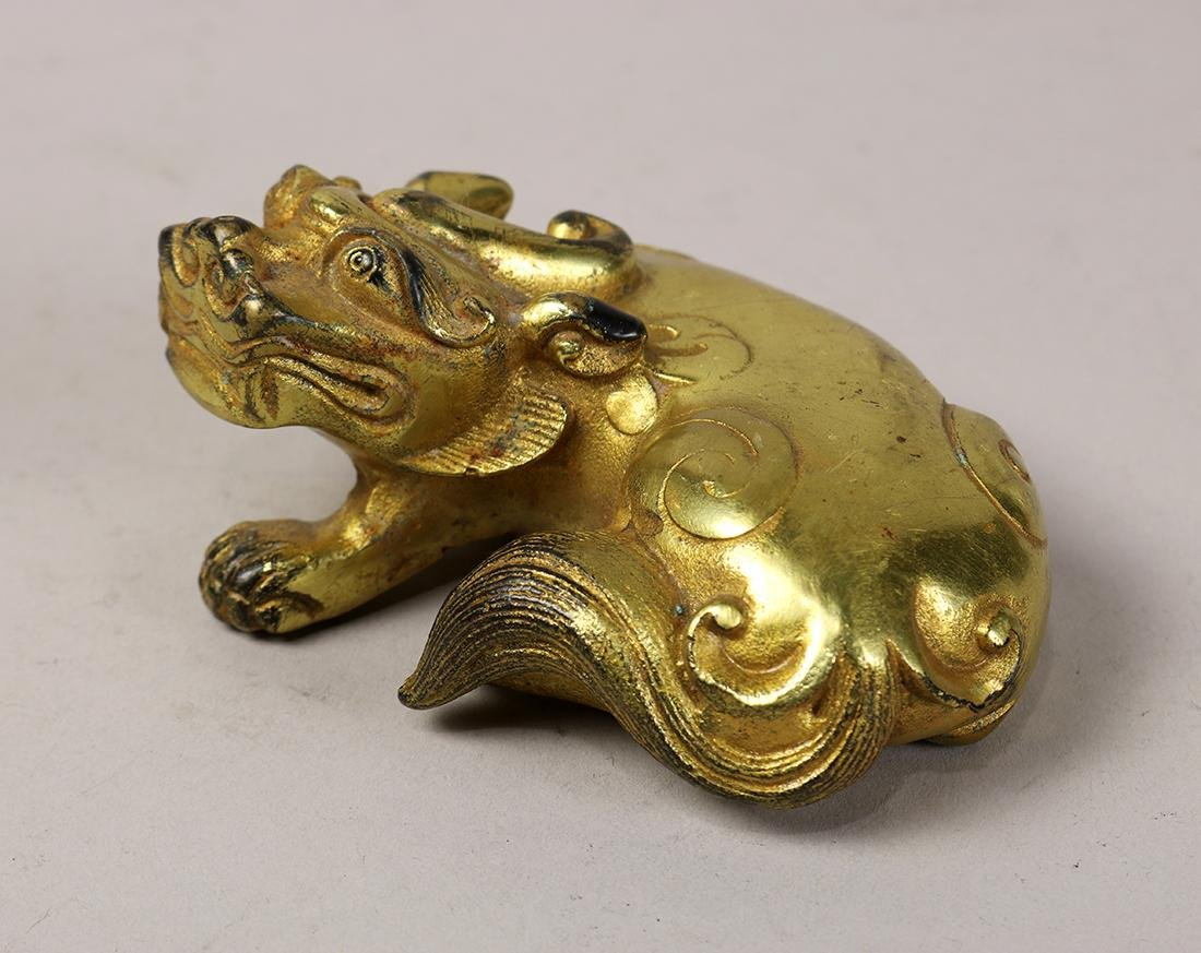 Chinese Gilt Bronze Beast - 2
