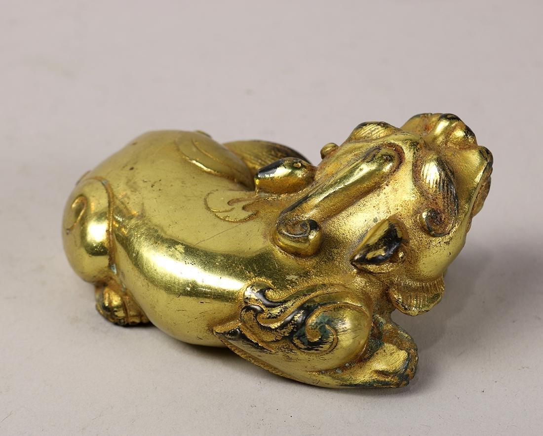 Chinese Gilt Bronze Beast - 4