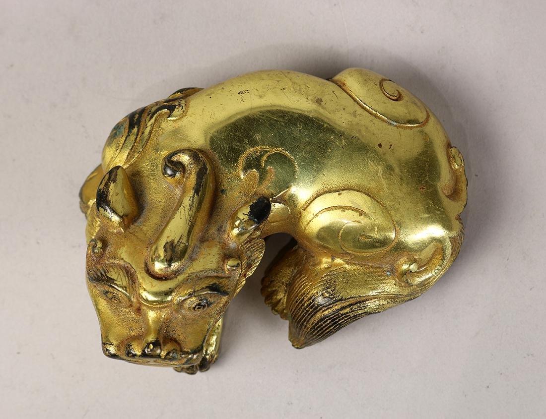 Chinese Gilt Bronze Beast - 5