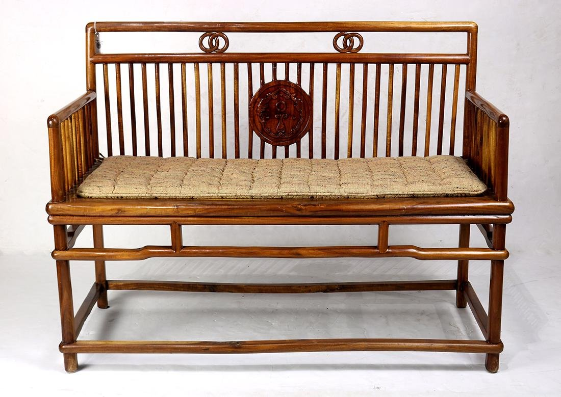 Chinese Wood Settee - 2