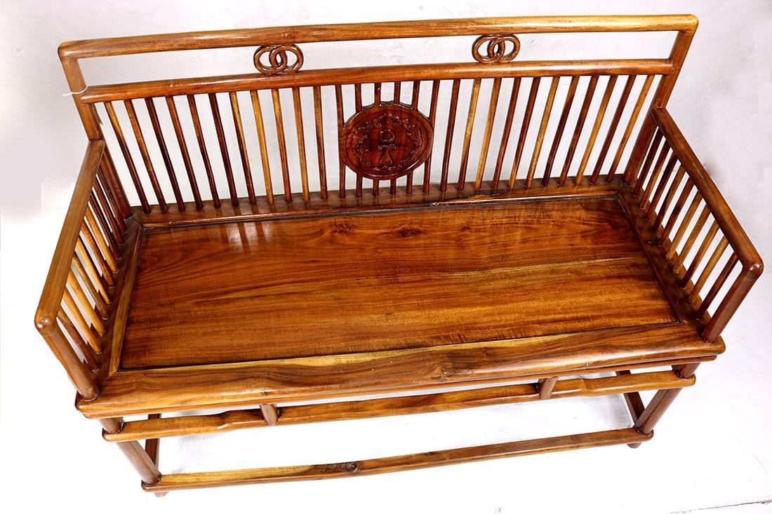 Chinese Wood Settee - 7