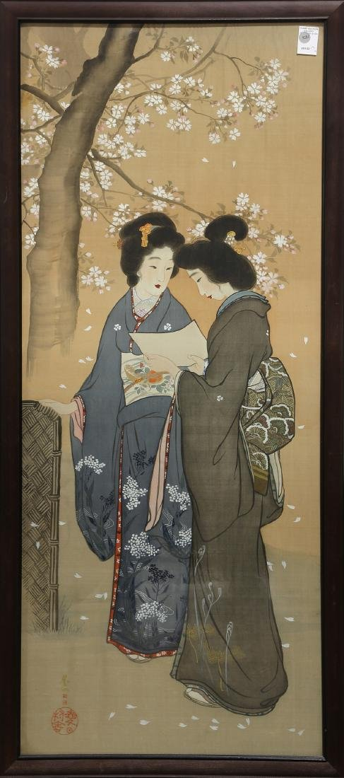 Japanese, Ink and Colors Painting  on Silk