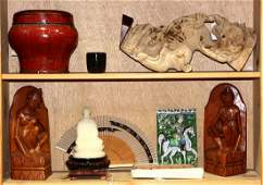 Two Shelves of Asian Decorative Items