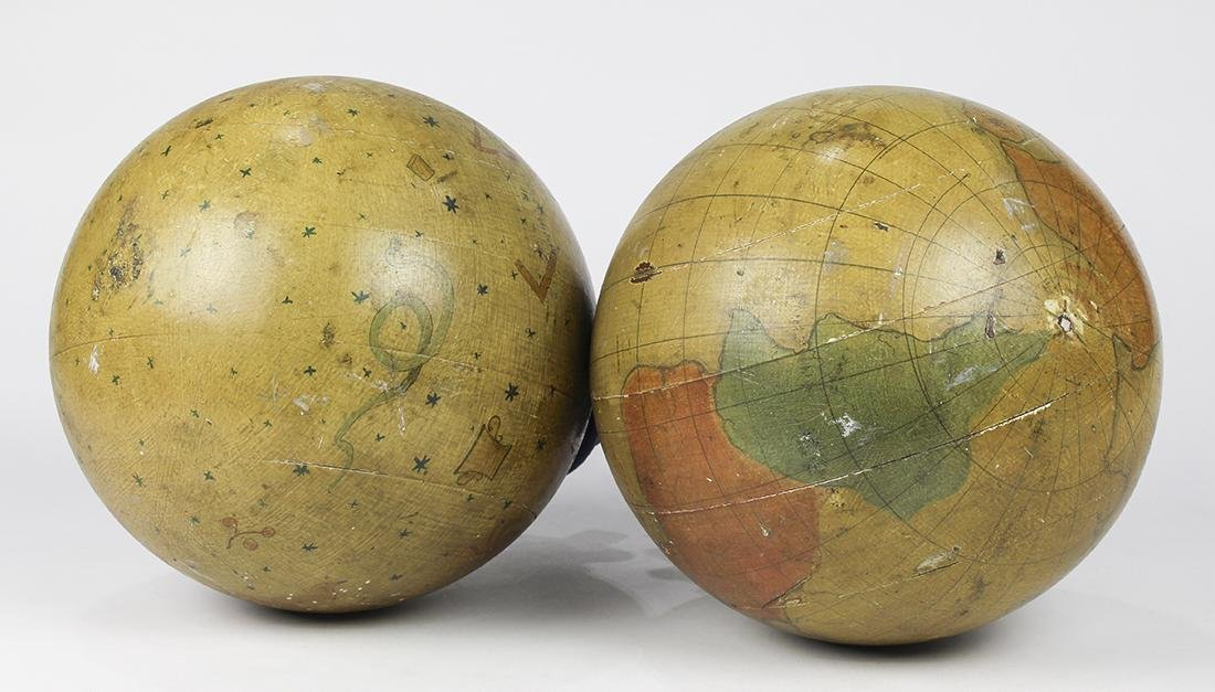 Pair of hand painted wood Masonic Lodge globes