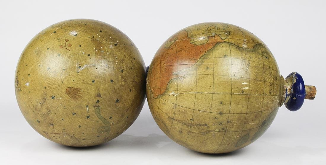 Pair of hand painted wood Masonic Lodge globes - 2