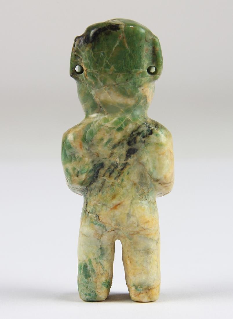 An Olmec or Olmec-style green jadeite figurine, - 3