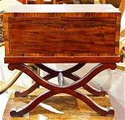 Colonial style mahogany lap desk on stand, the case