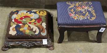 lot of 2 Victorian needlepoint upholstered