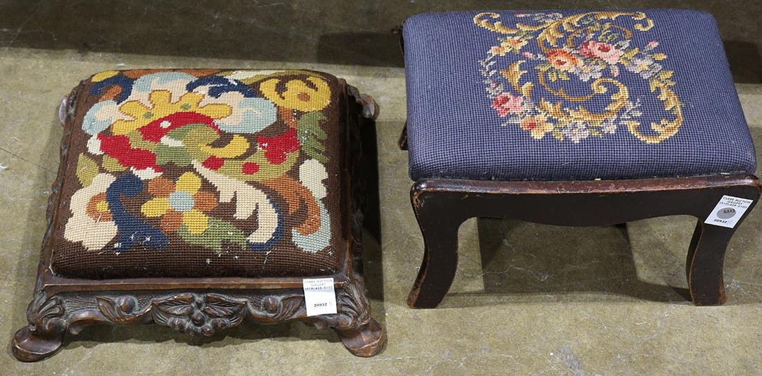 (lot of 2) Victorian needlepoint upholstered