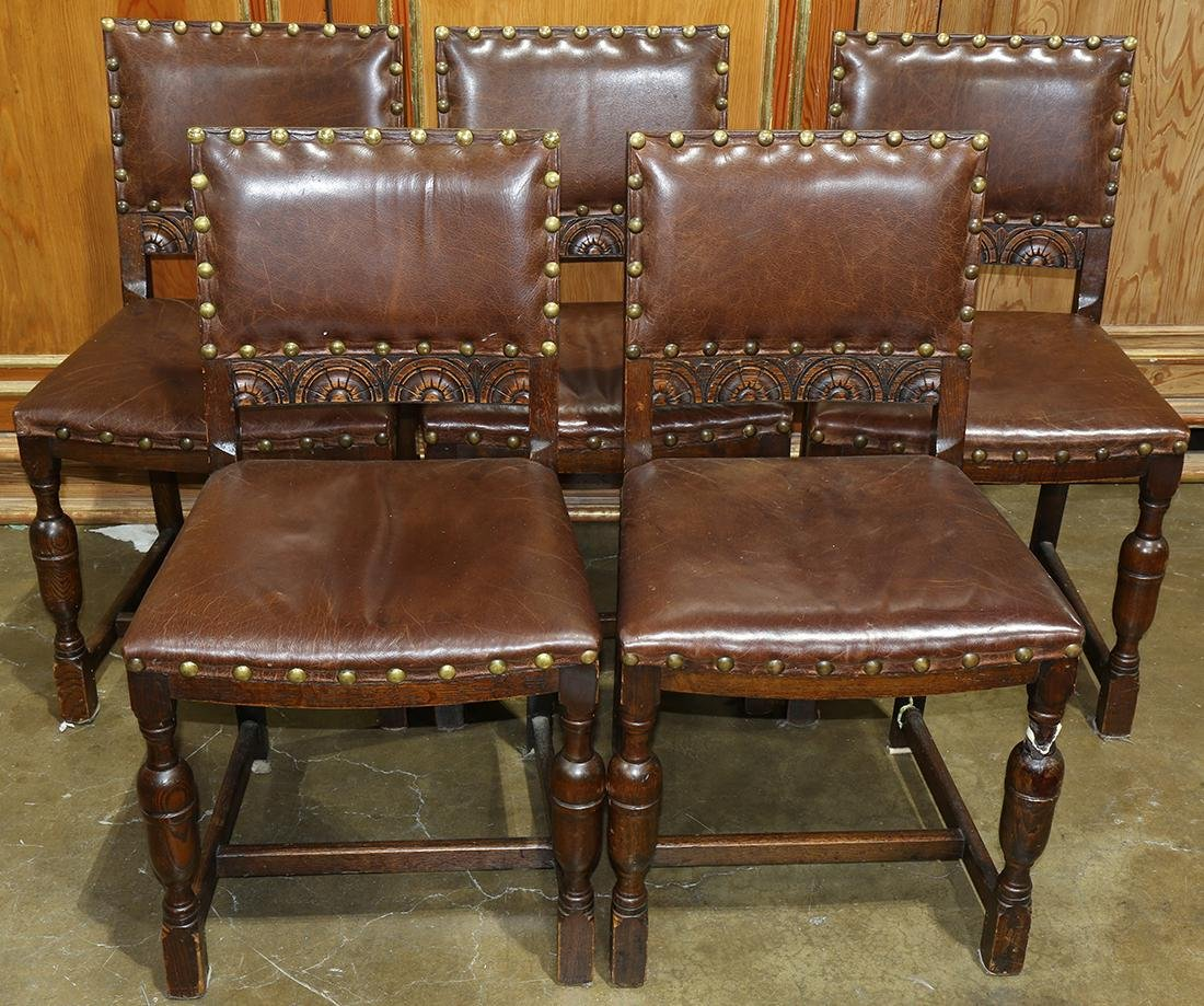 (lot of 5) Jacobean style carved oak side chairs,