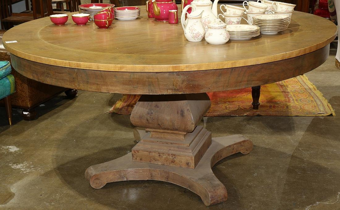 Regency style dining table, the round top with banded - 2
