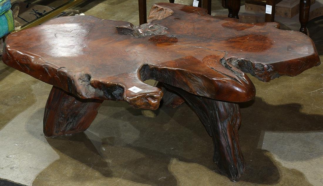Live edge redwood low table, having a free form burl