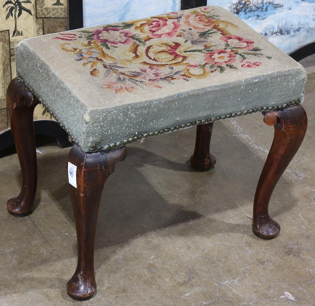 Georgian walnut foot stool, with needlepiont