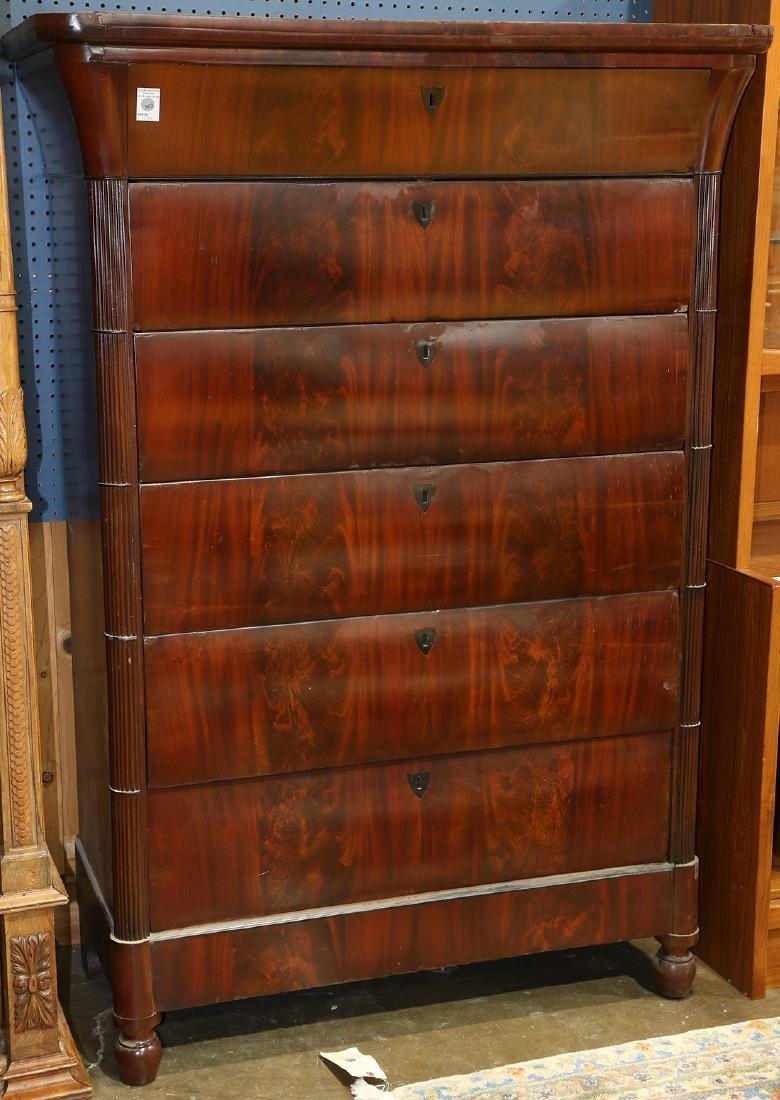 Empire flame mahogany chest