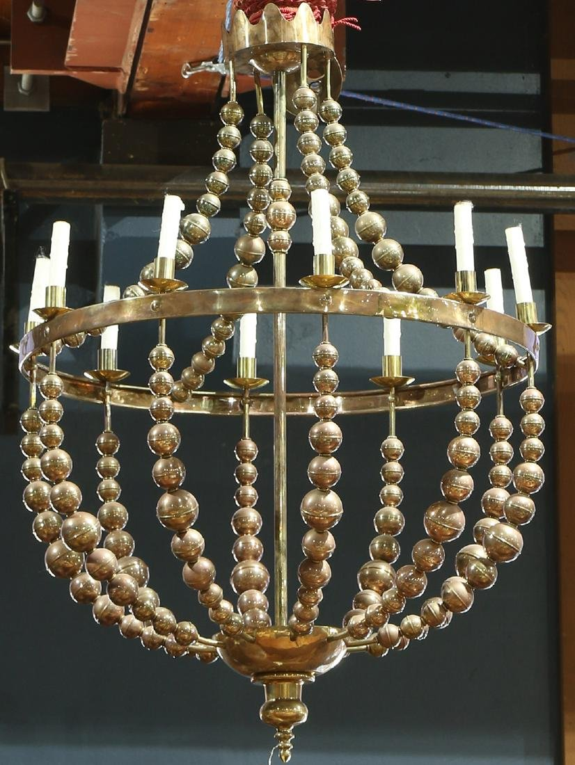 Custom hammered brass chandelier