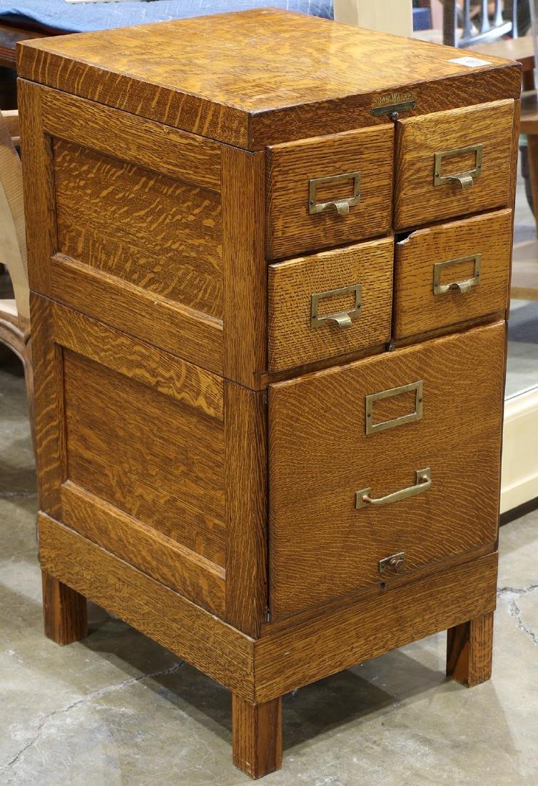 Shaw Walker quartersawn oak file and card cabinet