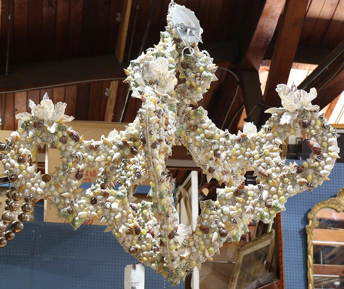 Grotto style custom shell encrusted chandelier
