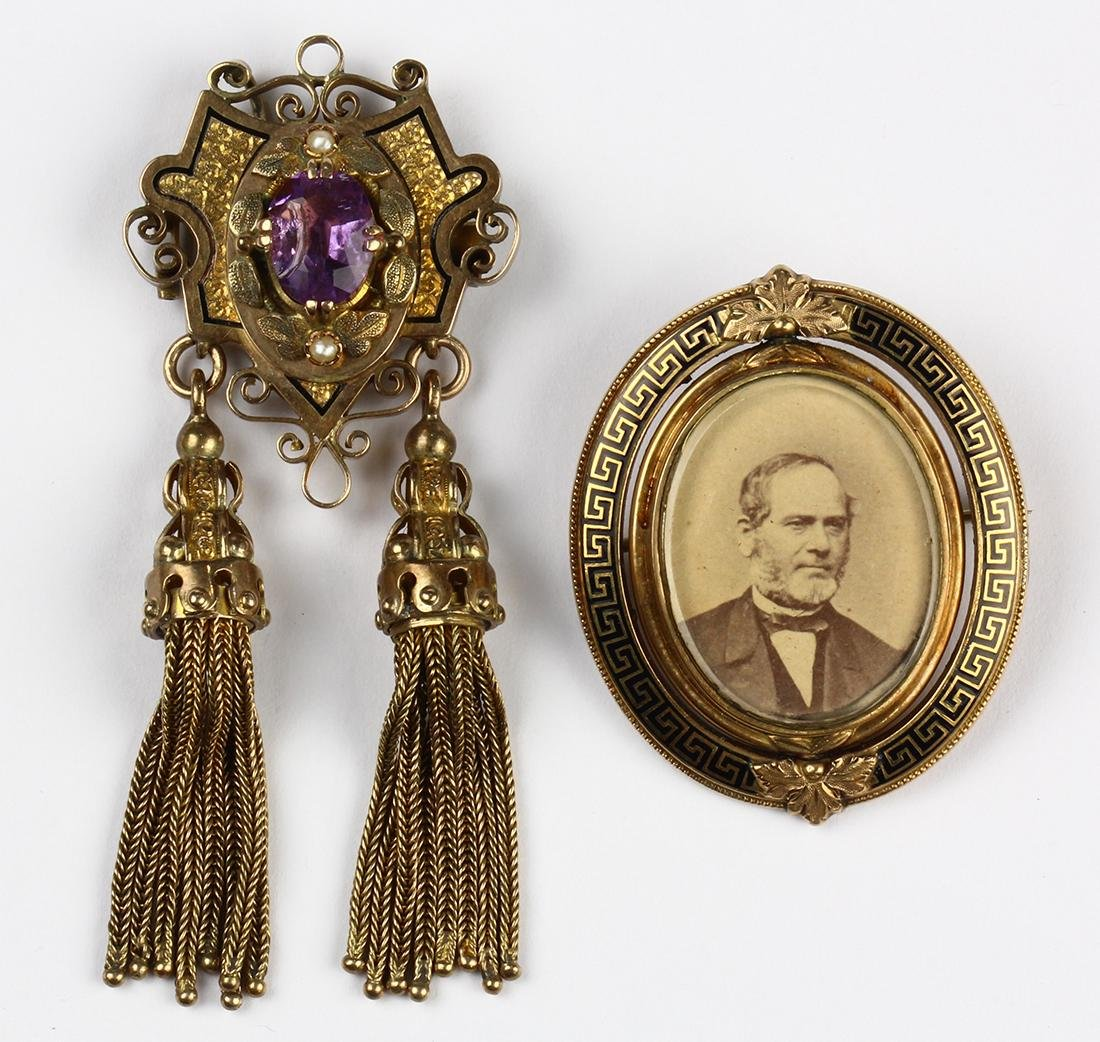 (Lot of 2) Victorian amethyst, enamel, 14k yellow gold