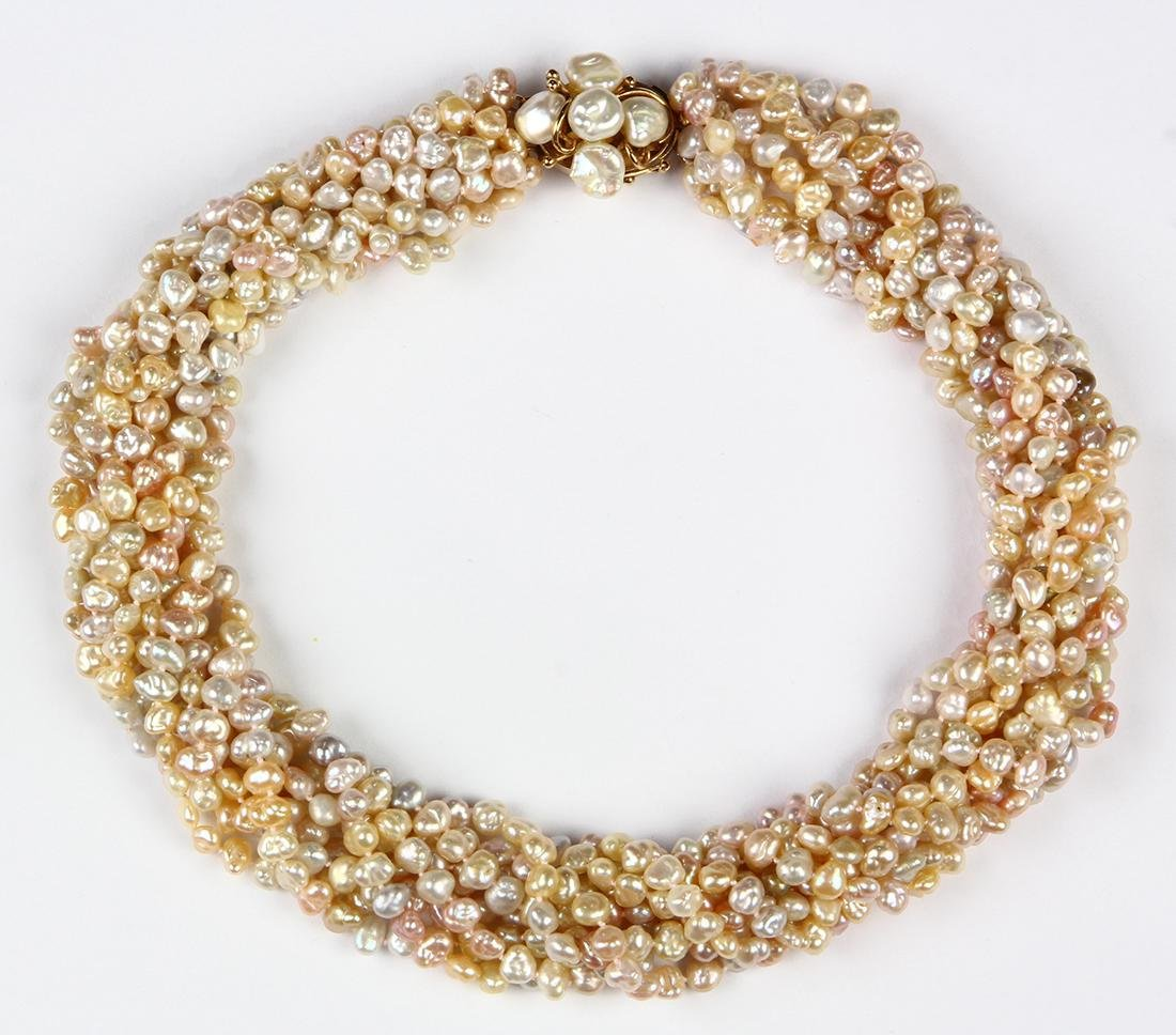 Freshwater cultured pearl and 14k yellow gold