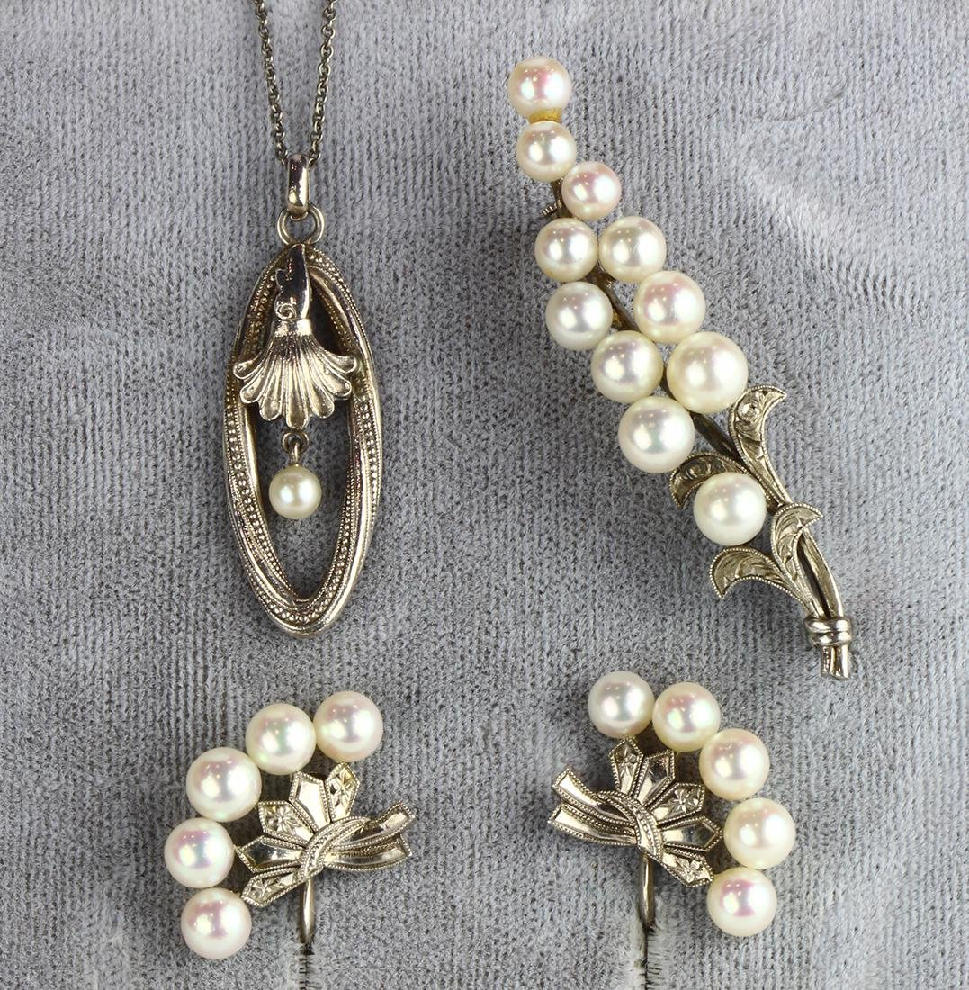 (Lot of 3) Cultured pearl and sterling silver jewelry