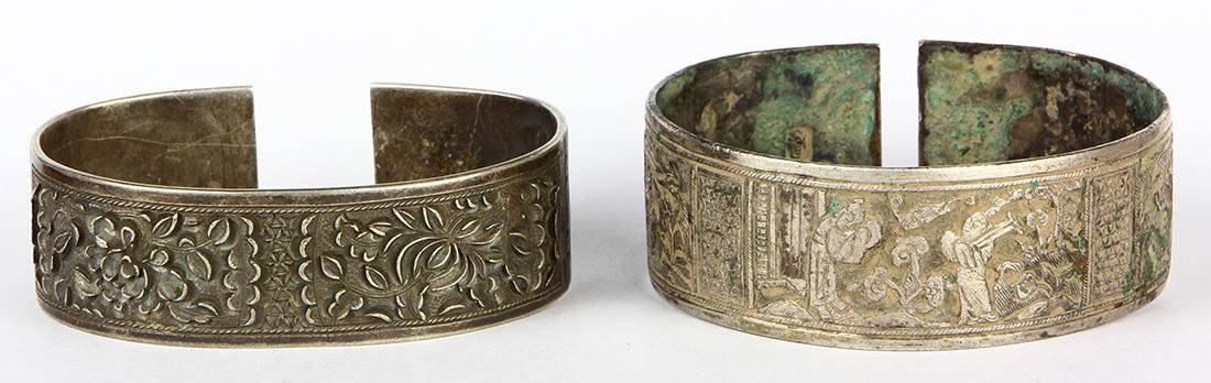 (Lot of 2) Chinese silver bracelets