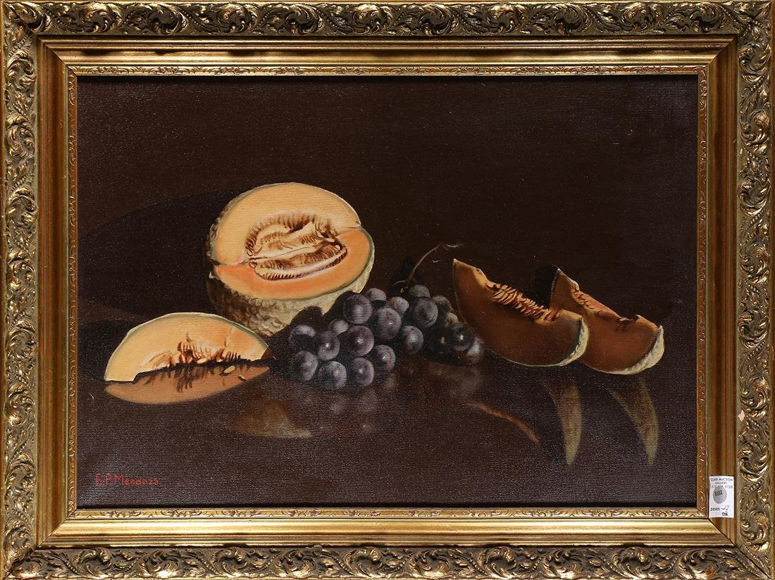 Painting, Still Life with Cantaloupe and Grapes