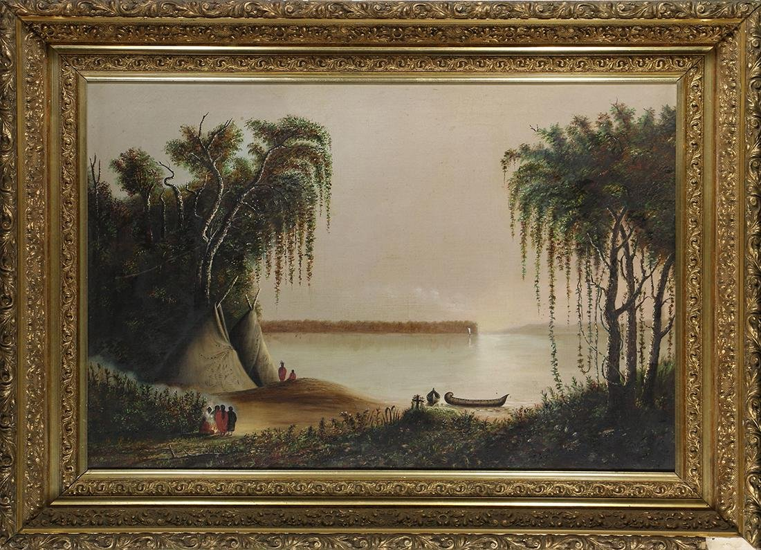 Painting, Indian Camp by the Water
