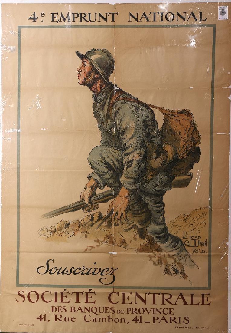 Vintage War Poster, Jean Droit, 4th Emprunt National