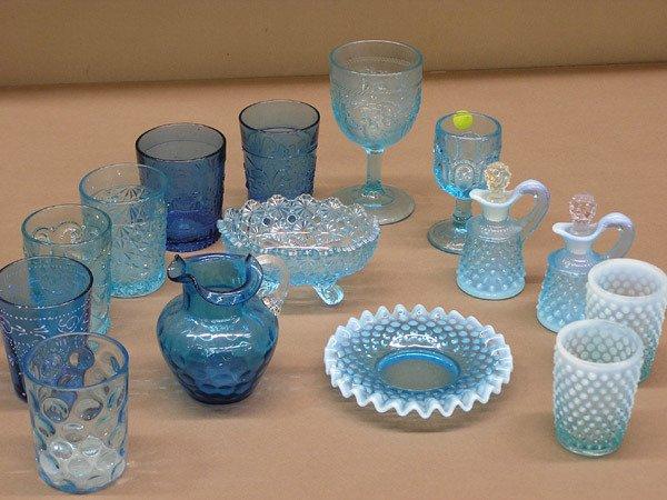 4002: Blue pressed glass