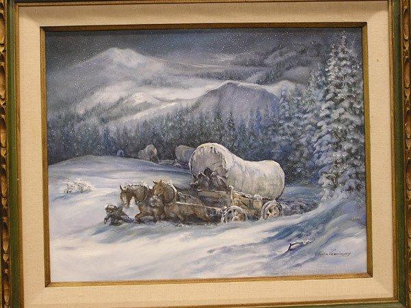 "4008: Oil/Canvas ""Donner Party"" by Vercinsky"