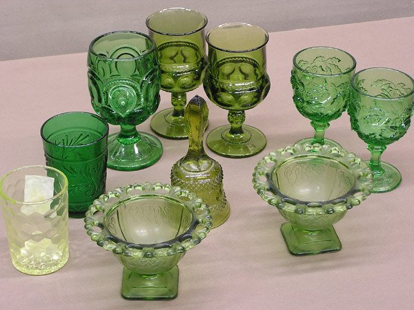4011: Group of Green Pressed Glass