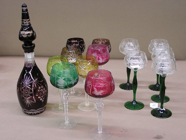 4015: Group colored and etched cordials