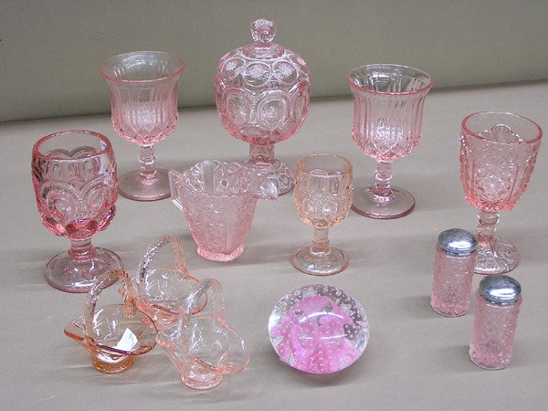 4016: Pink pressed glass and paperweight