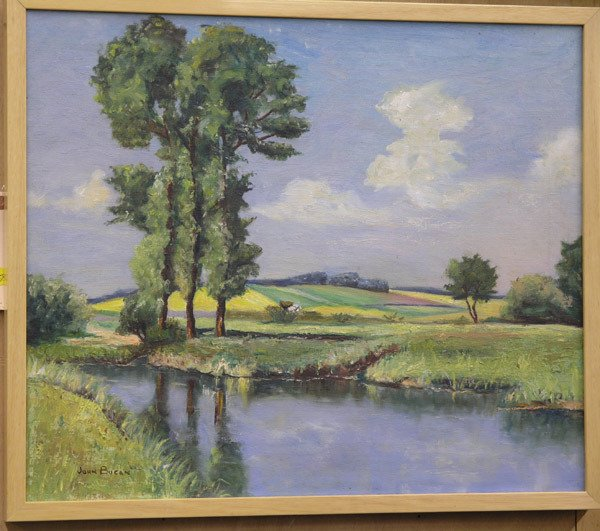 """4458: Oil on Canvas """"Breezy Spring Day"""" Bucan"""
