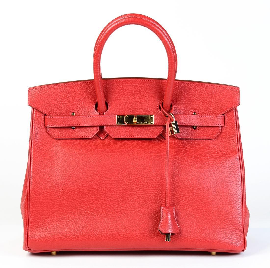 Hermes red togo leather Birkin 35 handbag