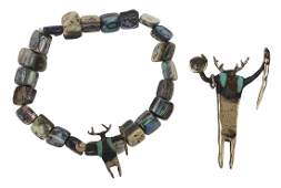 Bill Worrell bronze and abalone shaman jewelry suite