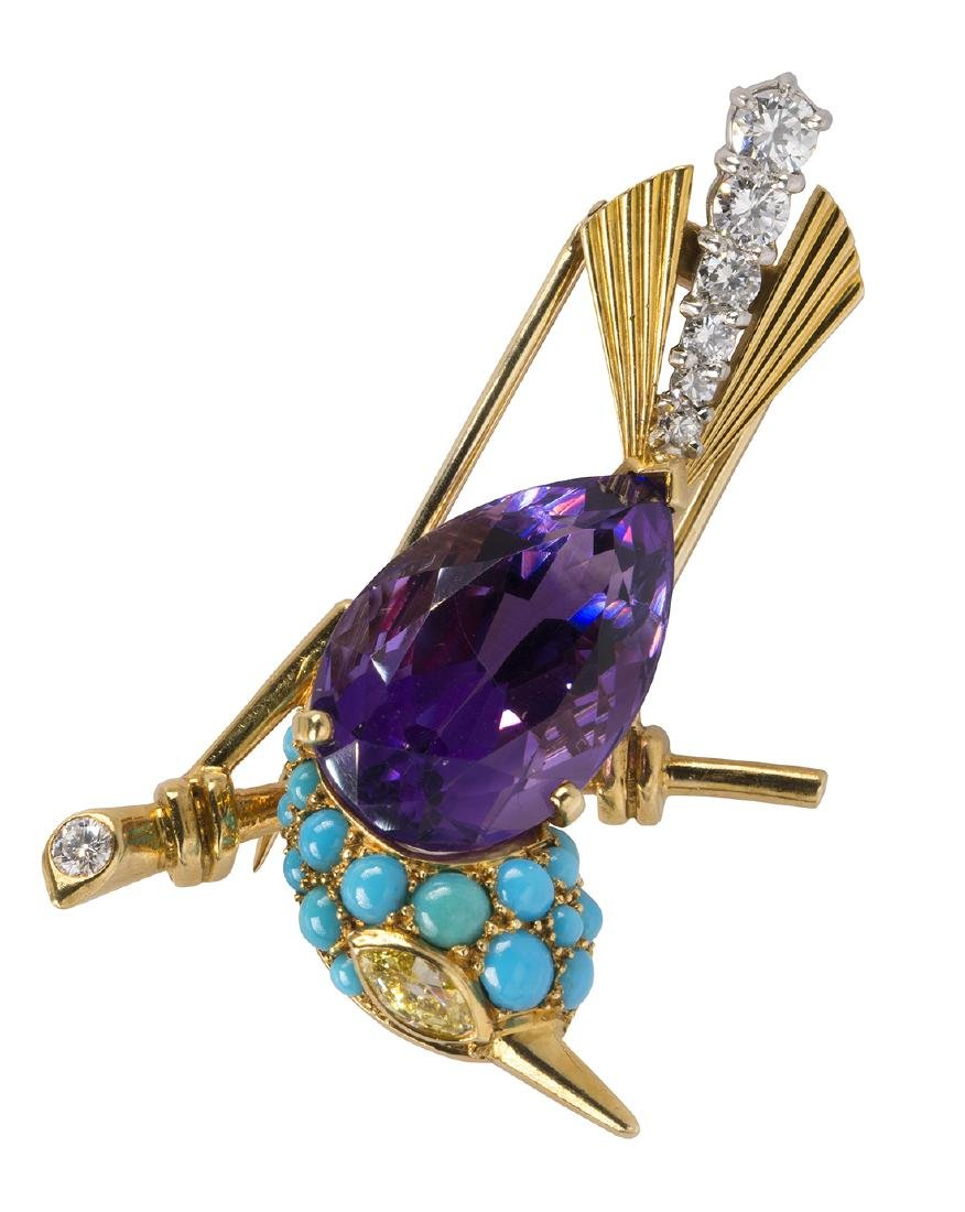 Cartier amethyst, turquoise, diamond, and 18k yellow
