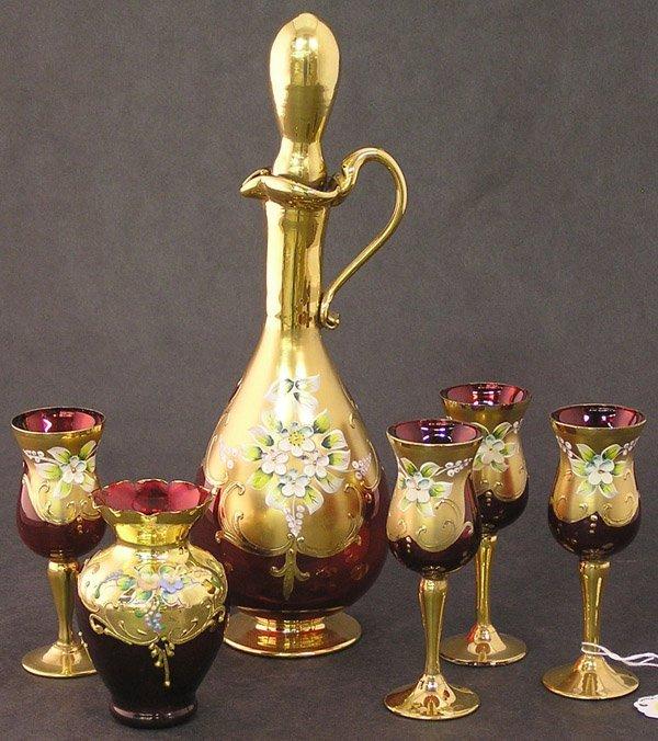 4019: Bohemian ruby glass cordial set