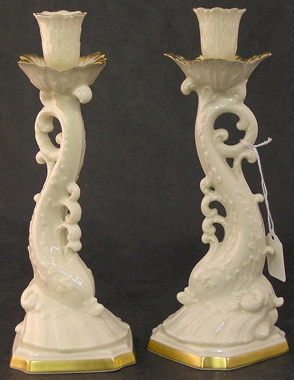 4022: Lenox porcelain candlesticks