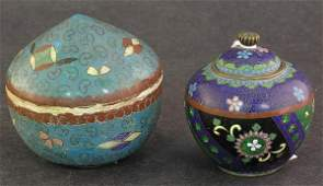 4061: Japanese Ceramic Cloisonne Box Meiji