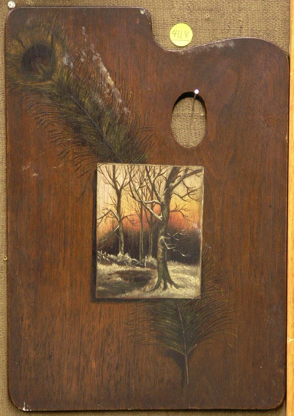 4118: Palette with oil painting winter scene