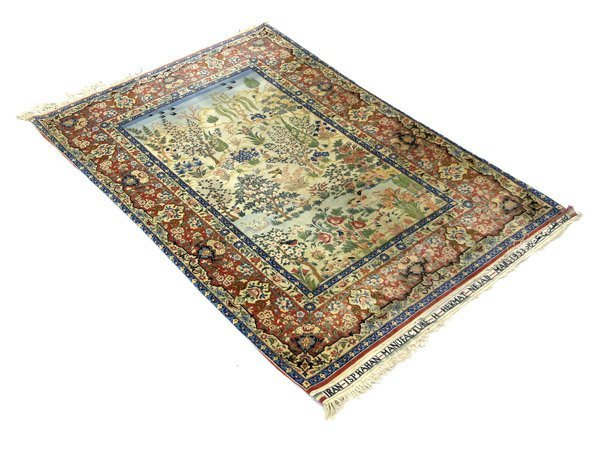 6411: Iran Isphan Silk Rug Carpet