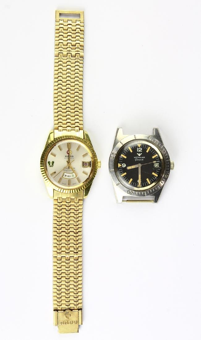 (Lot of 2) Rado and Wittnauer metal wristwatches