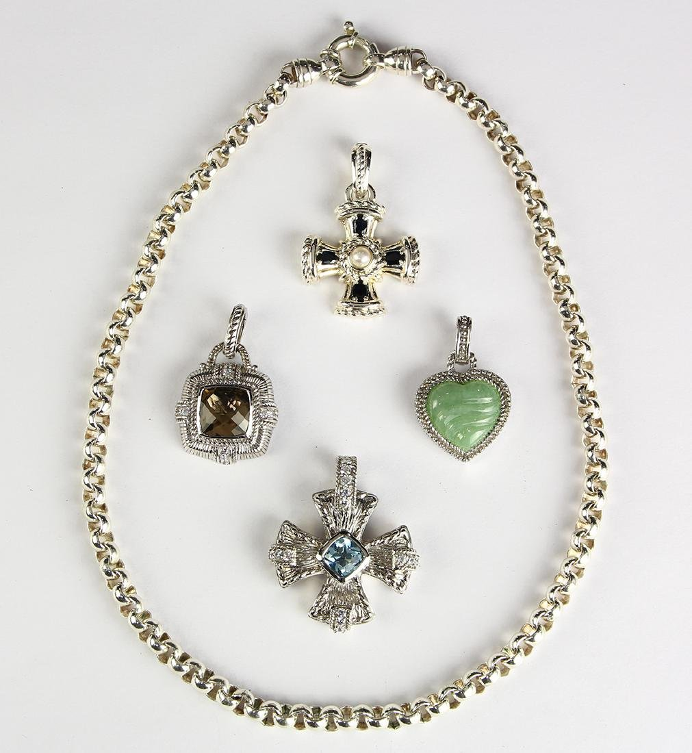 (Lot of 5) Judith Ripka multi-stone, sterling silver