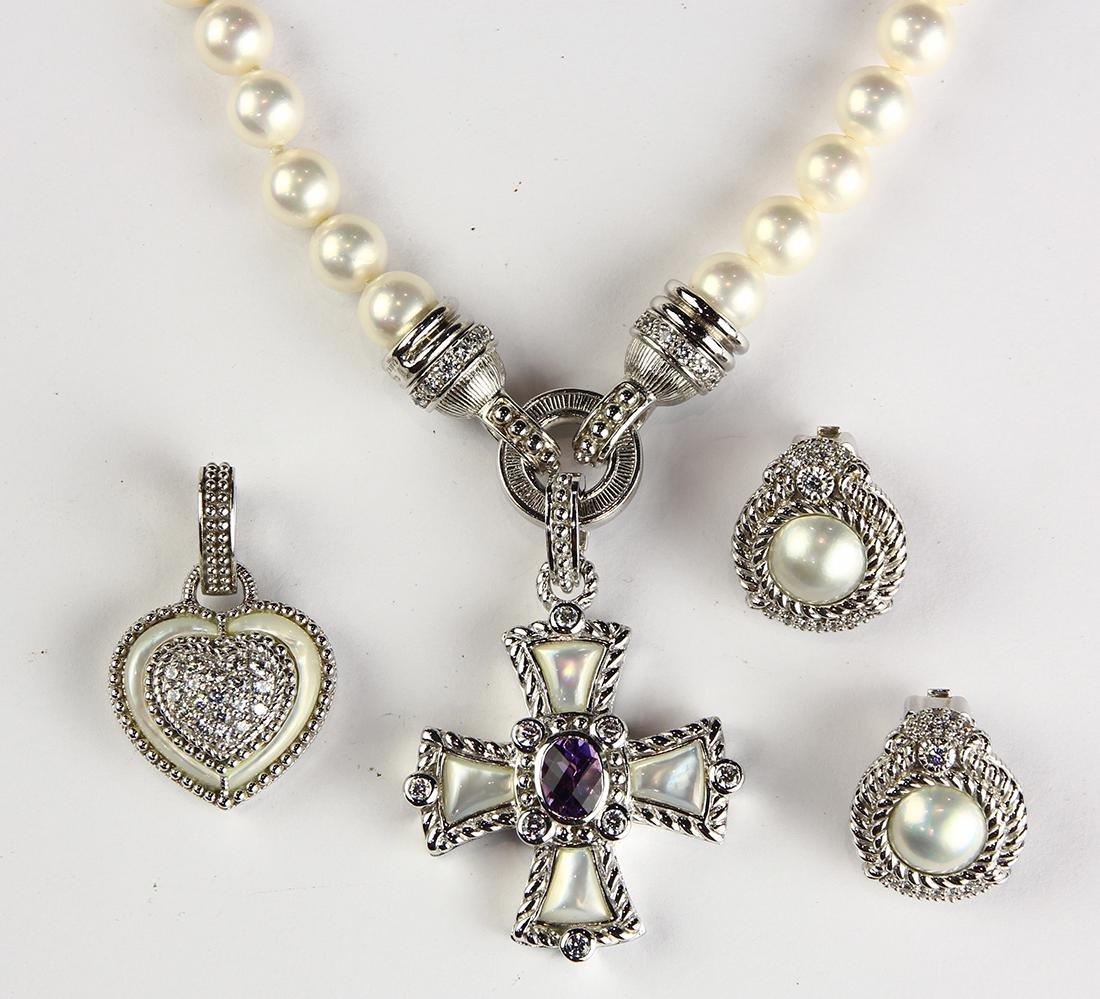 Judith Ripka amethyst, mother-of-pearl, white stone,