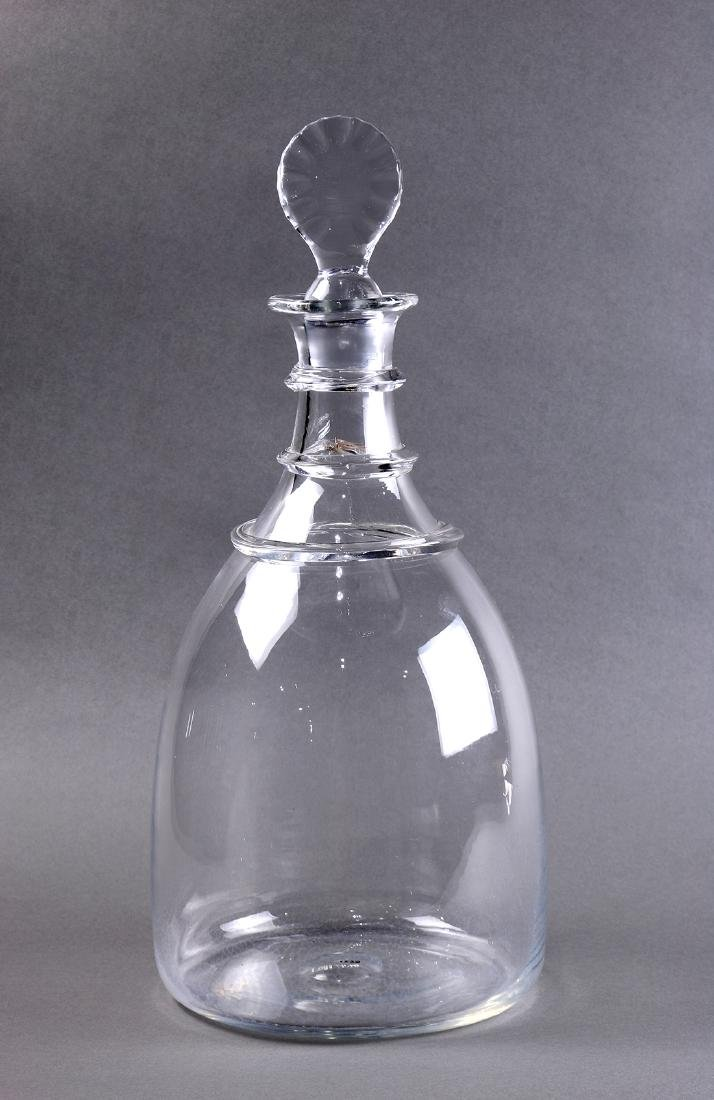 Large blown glass decanter, late 18th century, executed